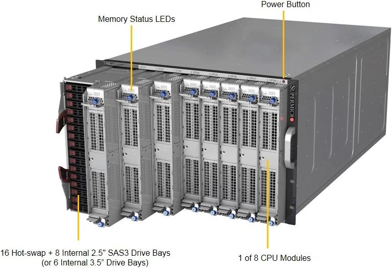 Обзор 8-процессорного сервера STSS Flagman QX879T5.5-016SH - вид под углом